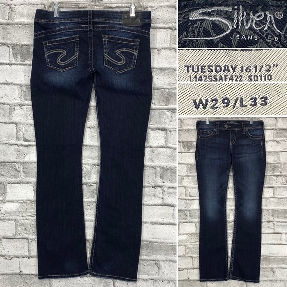 Silver Tuesday Women's 29 x 33 Bootcut Jeans Thick Stitch Embroidered Pockets